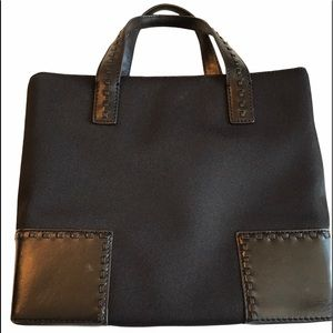 Cole Haan Black Leather and Microfiber Han…